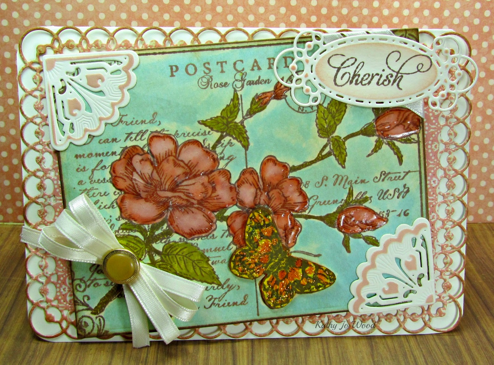I'm A Little Teapot...: Graphic 45 And JustRite Rose Postcard