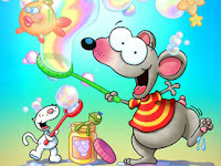 Cartoon characters Toopy and Binoo having fun with bubbles underwater