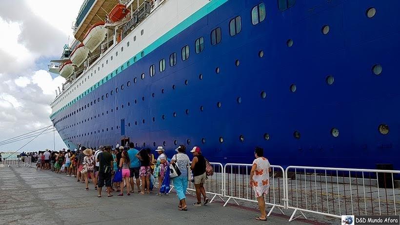 Voltando para o navio no Porto de Aruba - cruzeiro pelo Caribe
