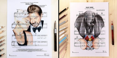00-U-Doughty-Movie-Character-Drawings-on-Music-Sheets-www-designstack-co