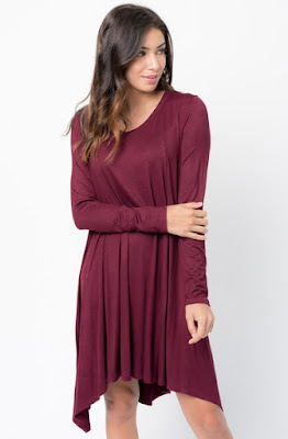 Buy Now burgundy  Back Raglan Draped Dress Online $38 -@caralase.com