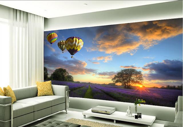 tapet natur ballonger blomsteräng fototapet solnedgång 3d fondtapet landskap