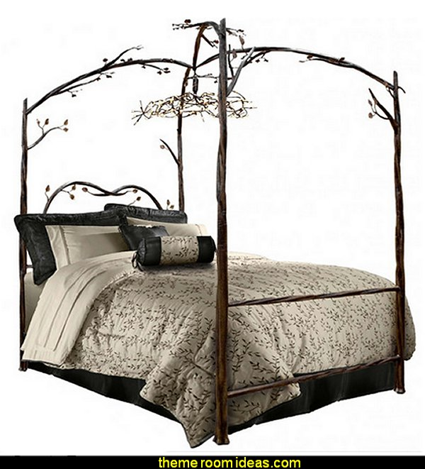 Enchanted Canopy Bed  forest theme bedrooms - woodland forest theme bedroom fairies decor - fairy room decor - woodland nursery decor - woodland animal decorations - fairy woodland bedrooms - deer wall mural - snow white themed bedroom decorating ideas