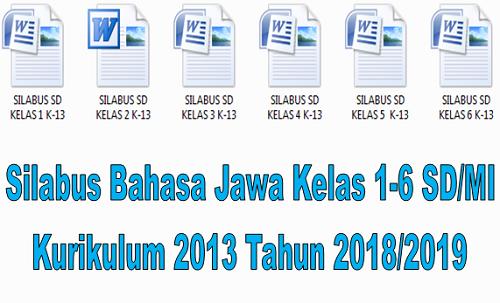 Silabus Bahasa Jawa Kelas 1-6 SD/MI Kurikulum 2013 Tahun 2018/2019