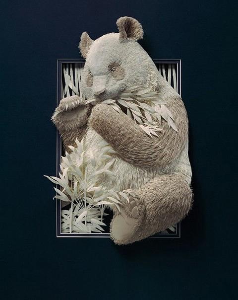 Trabajo artístico en papel oso panda