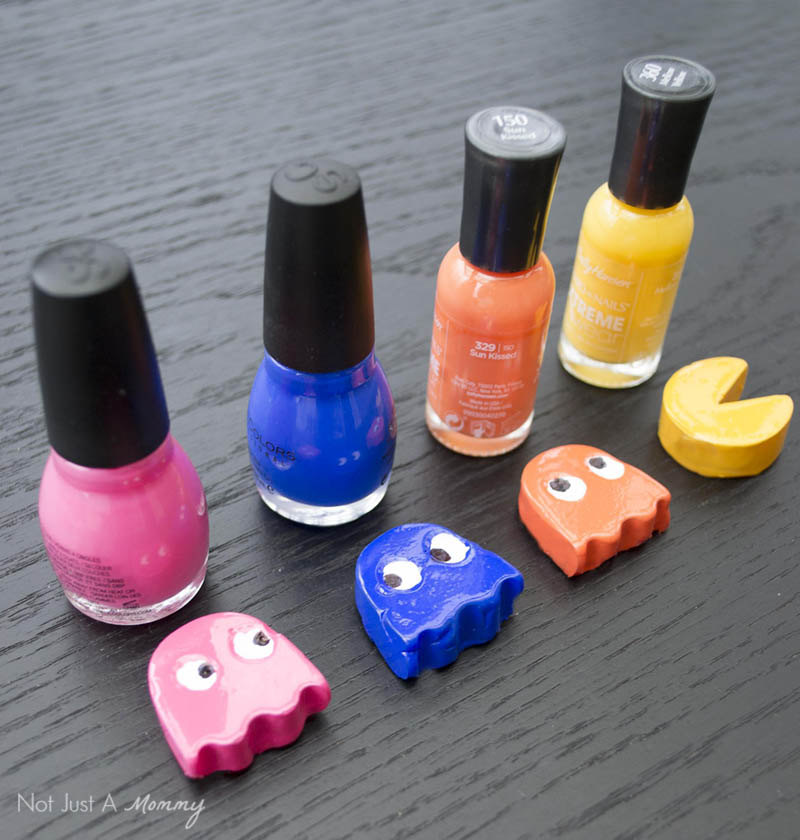 Hot-glue shapes get a coat of nail polish in our DIY Pac-Man game