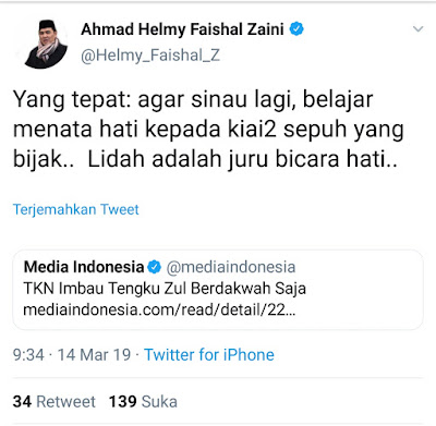 Helmi Faisal Sarankan Tengku Zulkarnain Belajar Lagi Kepada Kiai-kiai Sepuh