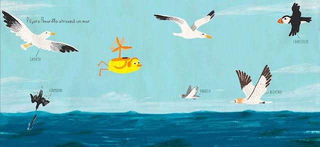 Otra página interior del cuento infantil ilustrado por Olga de Dios Pajaro Amarillo
