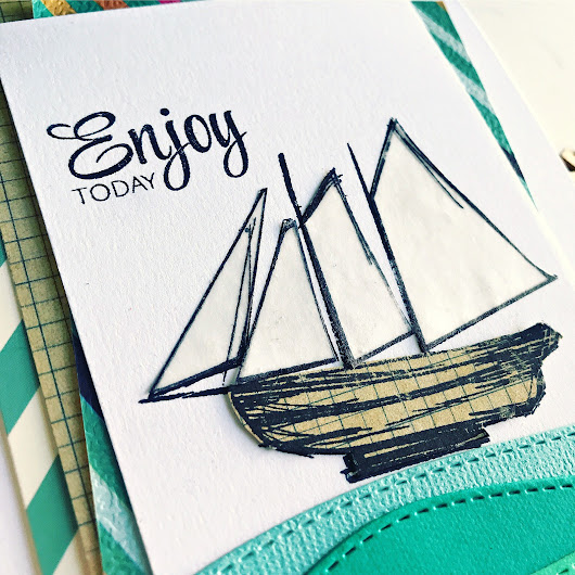 Sailing Away - Stamped Beach Card
