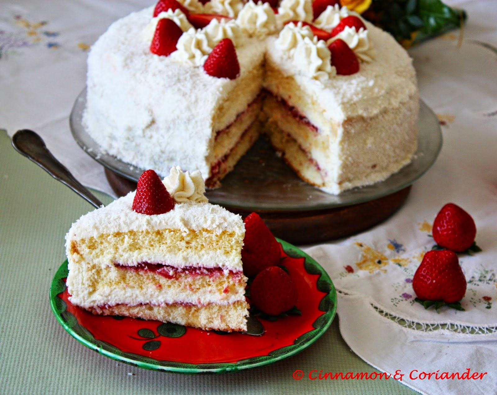 Erdbeer Kokos Torte Mit Schoko Mascarpone Creme Cinnamon Coriander