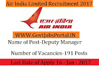 Air India Recruitment for 190 General Manger Posts 2017