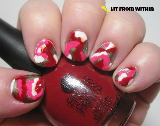 Pink Camo Nailart