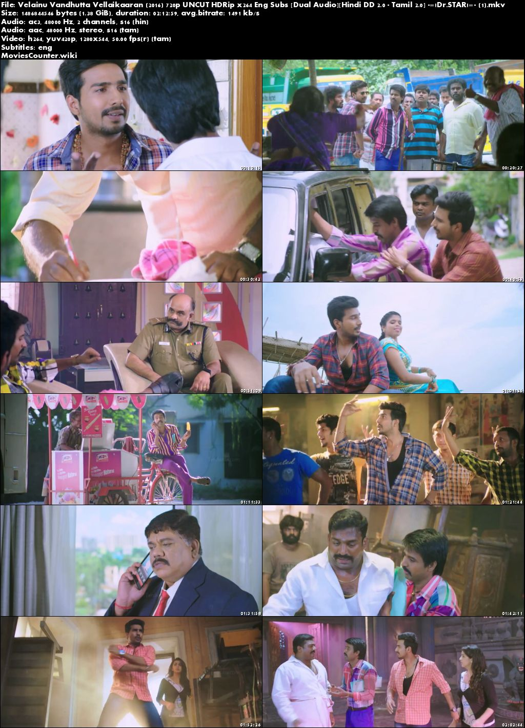Screen shots Velainu Vandhutta Vellaikaaran 2016 Hindi Dubbed HD 720p