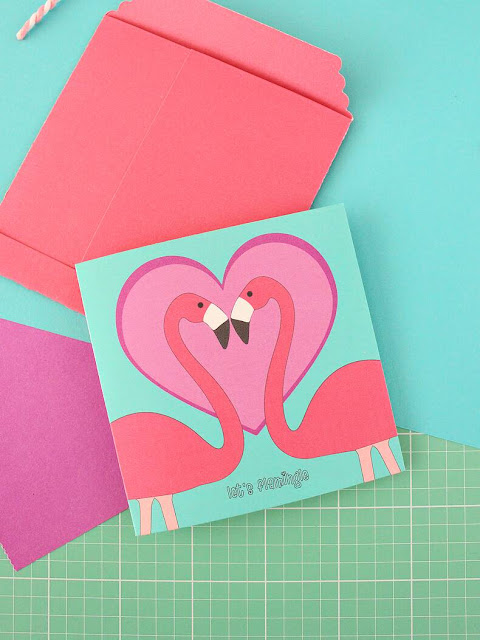 Printable Flamingo Valentine Card