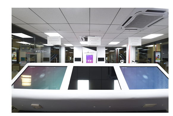 Image1:  The above image shows touch tables (centre) for your property research, VR gadgets (Upper right corner) for a great virtual reality experience.