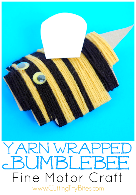 Yarn Wrapped Bumblebee. Fine motor craft for kids. Perfect for insect theme unit.