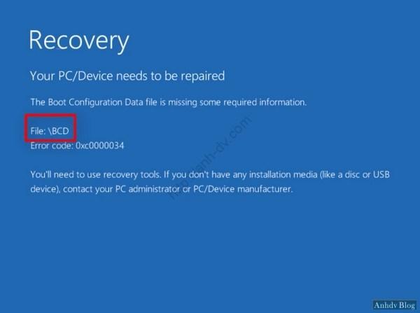 Sửa lỗi màn hình xanh Recovery, winload.exe, winload.efi với BootIce
