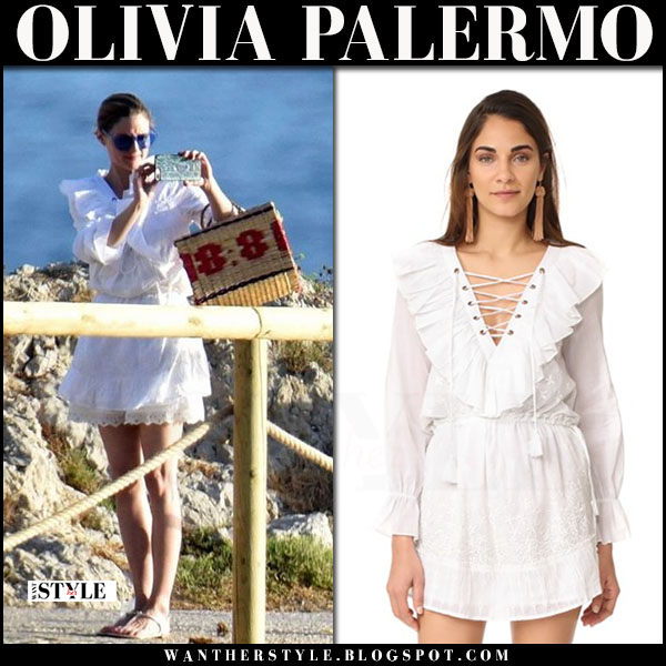 Olivia Palermo in white ruffled misa daya mini dress with blue sunglasses rumba time what she wore capri vacation style july 2017