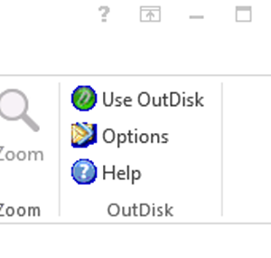 The OutDisk FTP toolbar as shown in Microsoft Office Outlook 2013.
