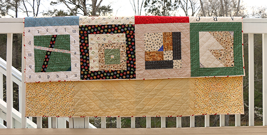 Top of Quilt made from Alphabet Themed Fabric