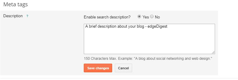 How to add meta description in homepage of blogger