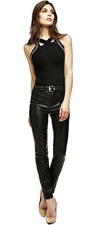 Pantalon femme enduit noir slim Guess