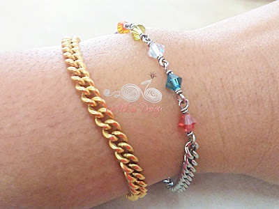 Wire wrapped minima bracelet (Minlet) with Mixed Swarovski Crystal around wrist