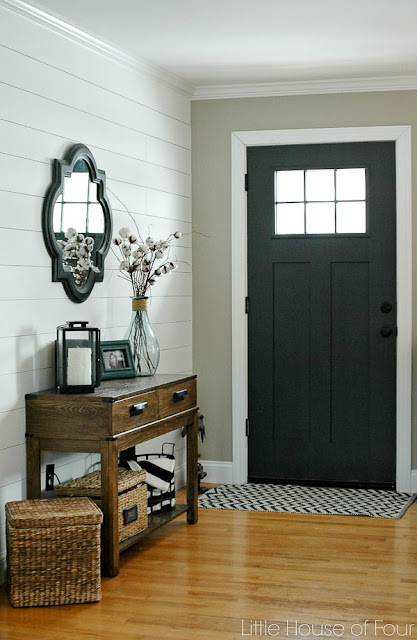 Sherwin-Williams Iron ore painted front door.