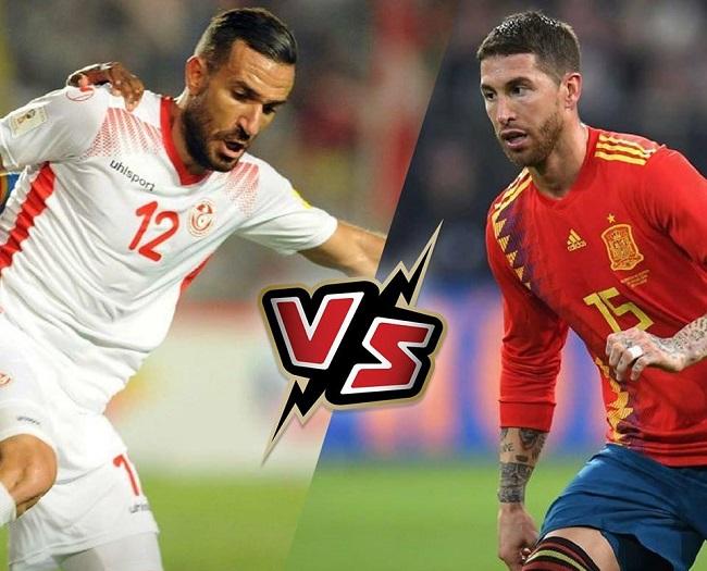 نتيجة مباراة تونس واسبانيا
