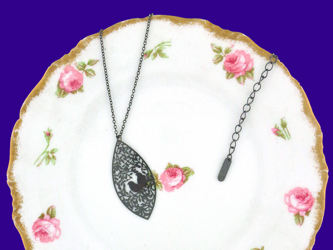 LAVISHY lovebirds filigree pendant necklace. Wholesale available at www.lavishy.com