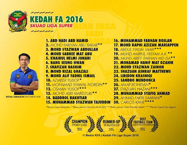 skuad rasmi Kedah FA 2016