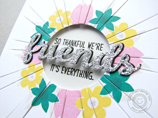 Sunny Studio Stamps: Sun Ray Dies and Friends & Family Floral Card by Emily Leiphart