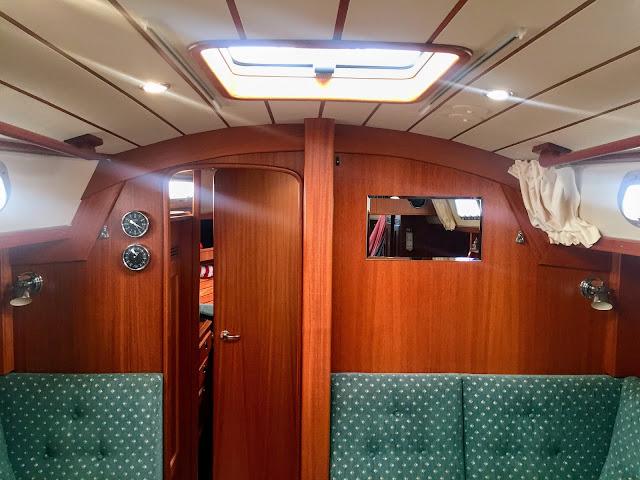 Hallberg-Rassy 37 sailboat interior mirror clock barometer