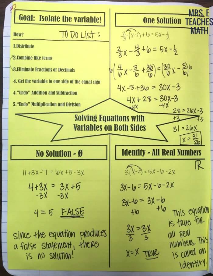 Solving equations inb pages mrs e teaches math variables on both sides of the equation graphic organizer for interactive notebooks ibookread Download