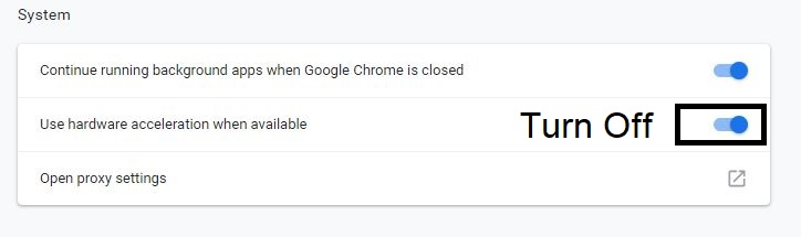 Turn of Hardware acceleration from Chrome