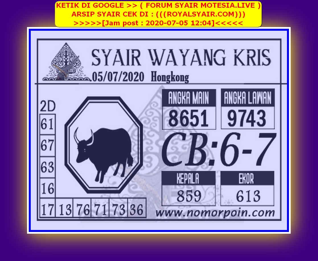 Kode syair Hongkong Minggu 5 Juli 2020 266