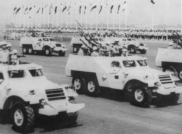 The BTR-152 was one of the first Soviet vehicles to proliferate across the Middle East and Africa. Pictured are BTR-152B's armed with quad-mounted DShK's and a lone Goryunov. Because Arab armies sucked at waging war the Israelis ended up collecting a sizable fleet of their own BTRs