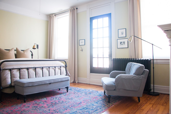 Simple We took the plunge and opted for a king size bed since the room can acmodate one and brought in additional seating in the form of an upholstered bench