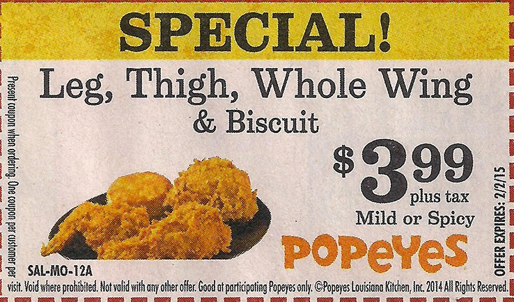 image regarding Popeyes Coupons Printable named Popeyes coupon codes bird merely : Free of charge things discount coupons canada
