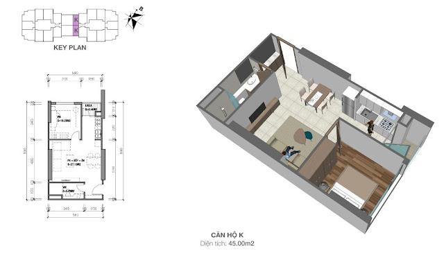 Thiết kế căn hộ loại K - 45m2 - 1PN, 1VS chung cư Eco Dream City