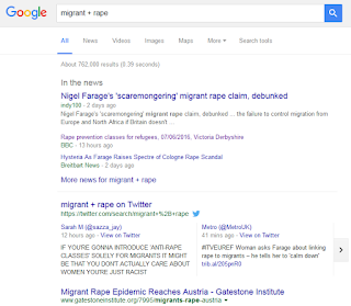 "screenshot of search results for ""migrant + rape"""