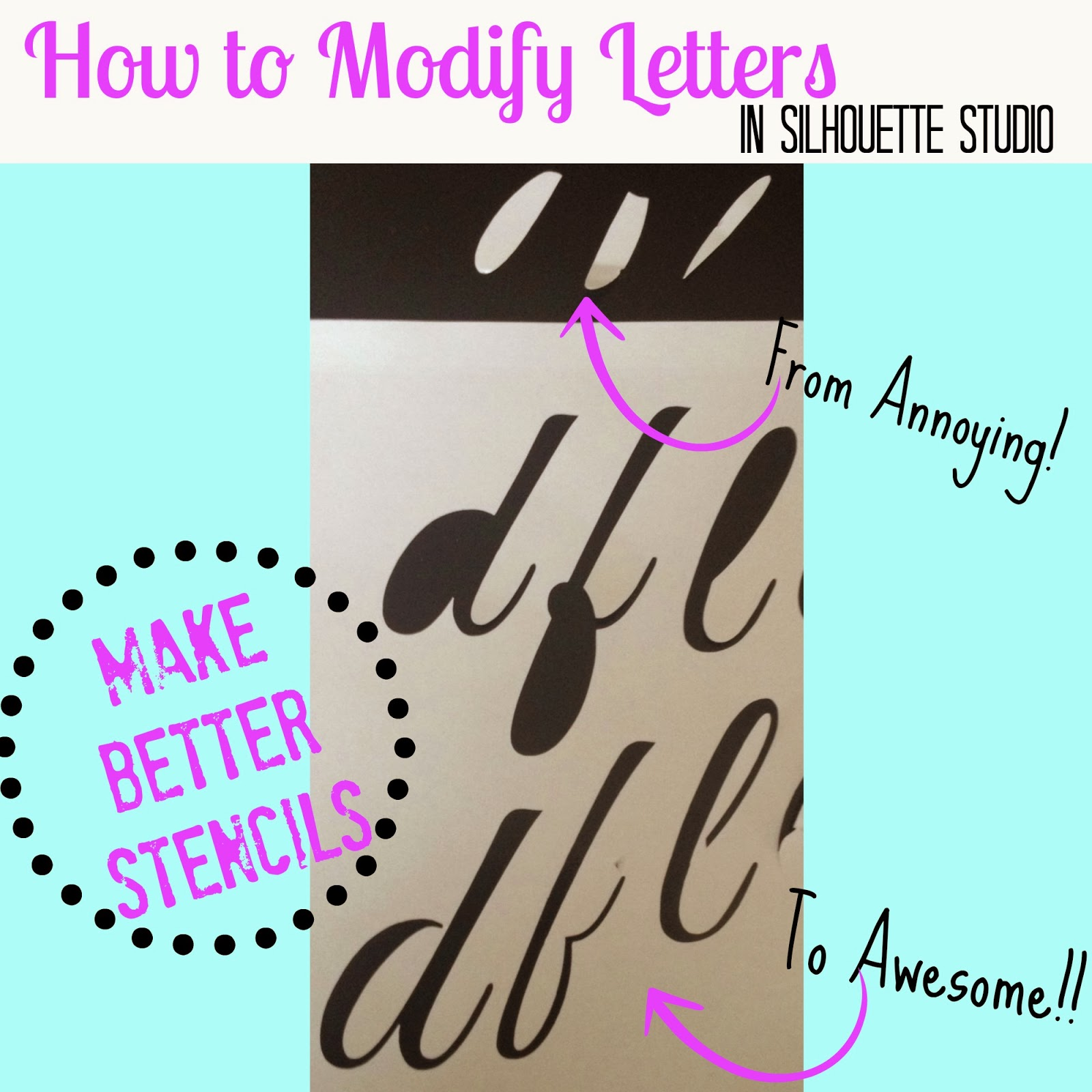 Modify, fonts, Silhouette tutorial, Silhouette Studio, eliminate middles
