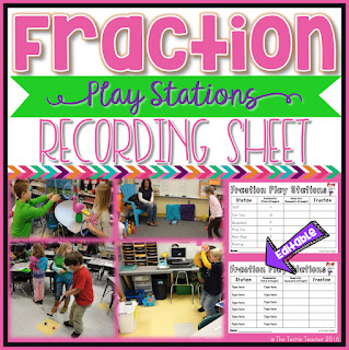"My Favorite Way to Kick Off a Fractions Unit: Have fun introducing fractions with fraction play stations. Your students will enjoy this mode of kinesthetic learning while they work with the fraction vocabulary terms: ""numerator"" and ""denominator""."