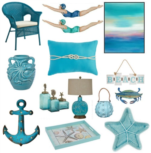 Turquoise Aqua Blue Coastal Decor