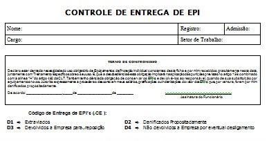 7e3c03f34f6b7 SEGURANÇA DO TRABALHO  MODELO DE FICHA DE ENTREGA DE EPI