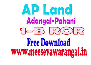 AP MeeBhoomi Adangal/ pahani, 1-B and FMB Free Download