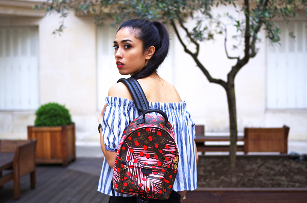 Elizabeth l  Off the shoulder trend outfit l Zara off the shoulder shirt choker Mango Repetto Quay Australia American Retro Louis Vuitton backpack l THEDEETSONE l http://thedeetsone.blogspot.fr