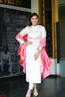 Mannara Chopra in Silky White Salwar Suit with Pink Chunni Latest Exclusive Pics March 2017 ~  034.JPG