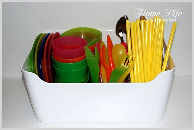 Организация детской посуды и столовых приборов