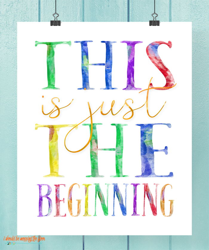 Six Watercolor Graduation Printables | This bundle of fun rainbowlicious watercolor prints are perfect for any graduate or celebration!